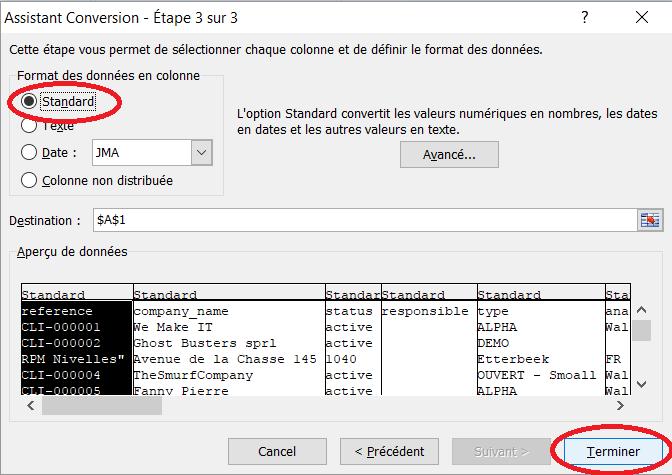 Export client - Donnée - convertir - délimité - virgule - standard - terminé