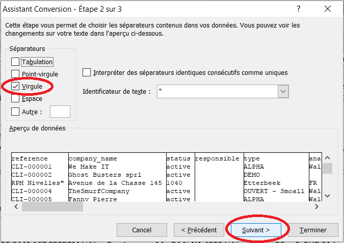 Export client - Donnée - convertir - délimité - virgule