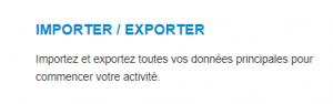 Paramètres - Import-export