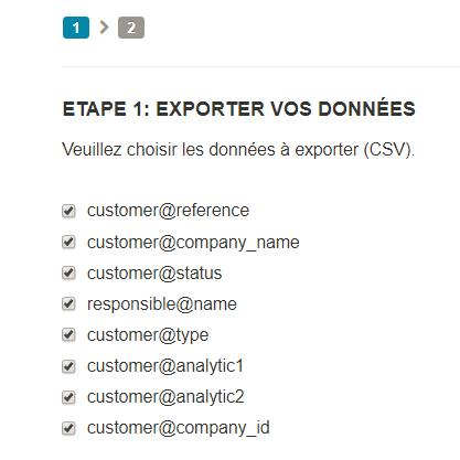 Paramètres - exporter - champs