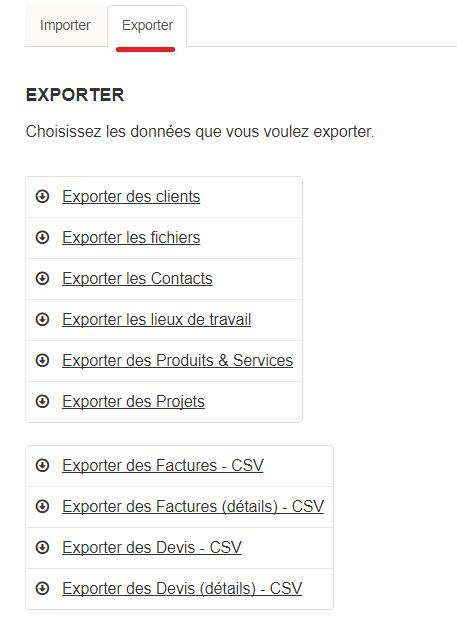 Paramètres - exporter - tab