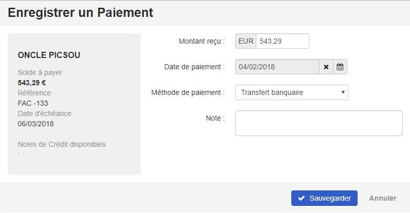 Smoall-facture de vente-enregistrer un paiement détails
