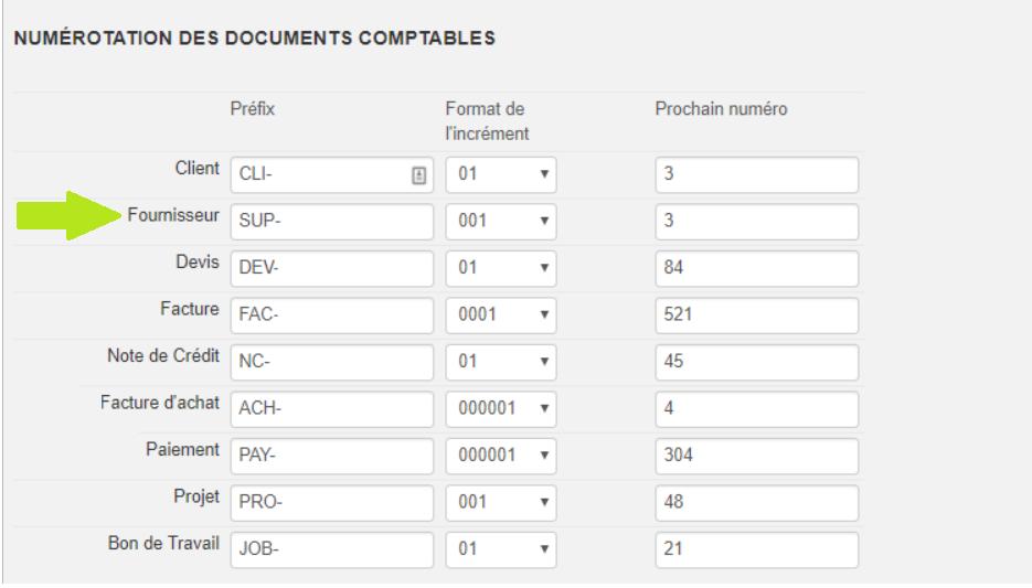 Numérotation documents comptables - fournisseurs - Smoall