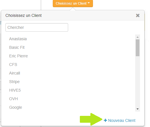 Smoall- Client et Funnel -menu déroulant choix client