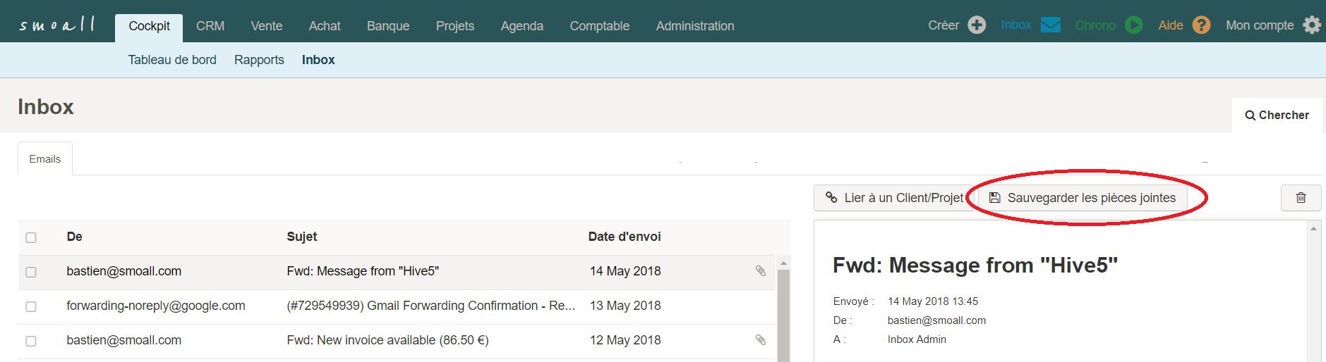 Smoall - Inbox - consultation message et création de facture d'achat