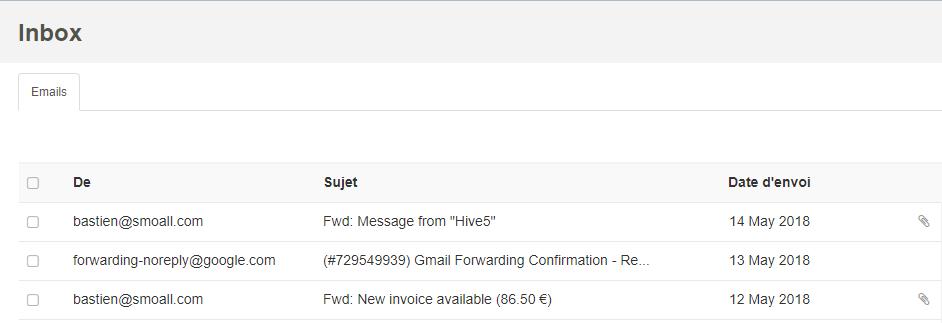 Smoall - Inbox vue générale