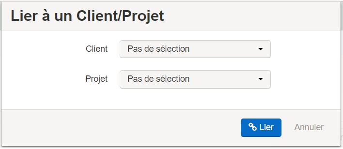 Smoall - bouton de sélection d'un lien client - projet