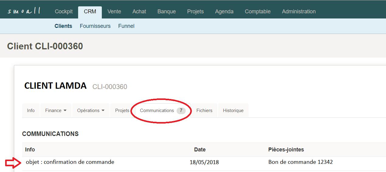Smoall - Consultation e-mail entrant depuis une fiche client
