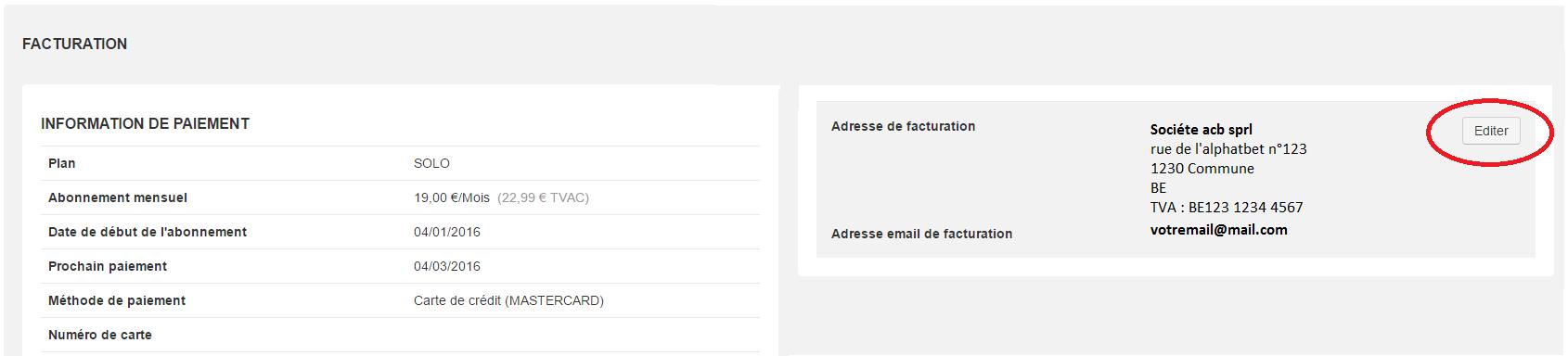 Smoall- Adresse facturation abonnement