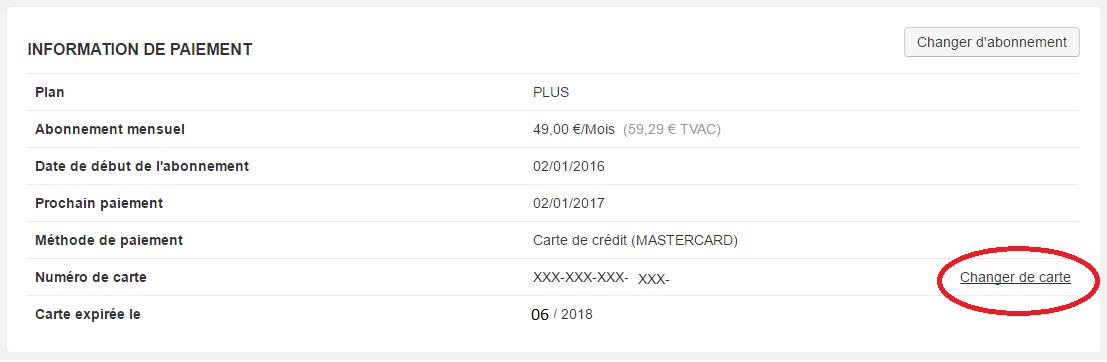 Smoall - Carte de crédit - changement