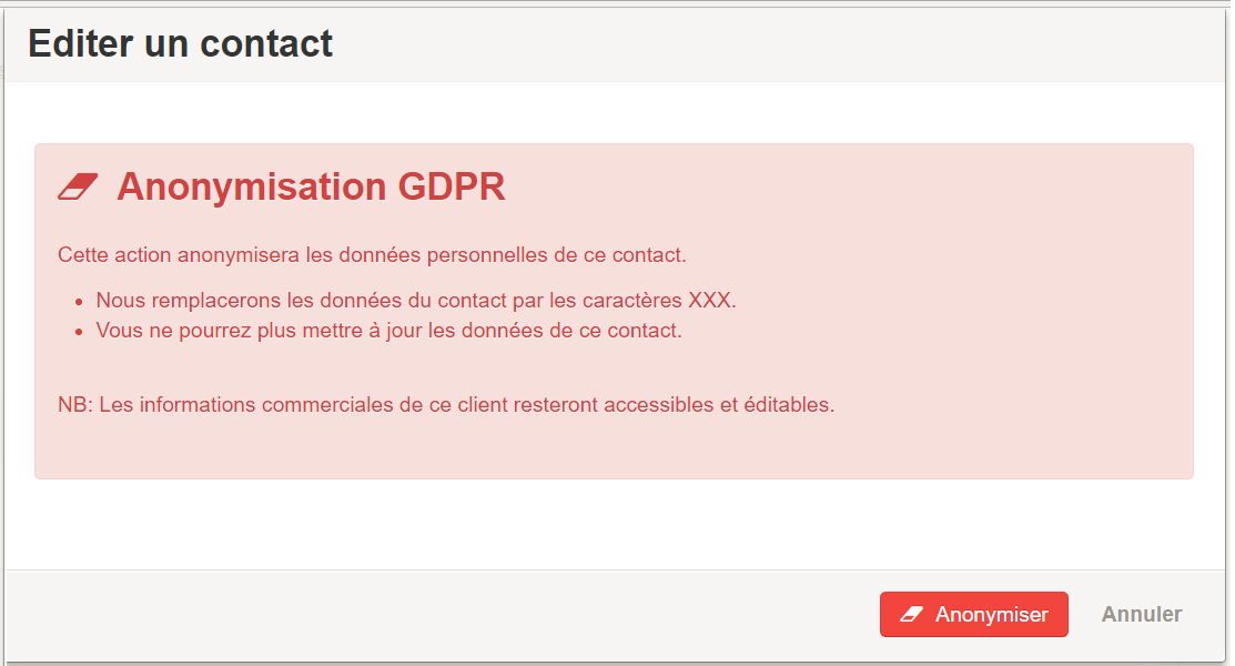Smoall - Contact confirmation anonymisation gdpr