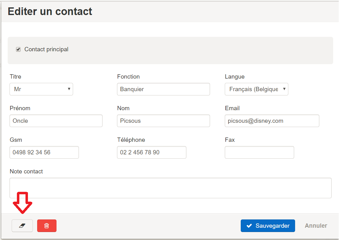 Smoall - Edition d'un contact_bouton anonymisation