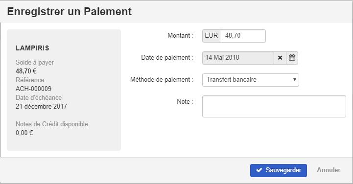 Smoall-facture d'achat-enregistrer un paiement détail