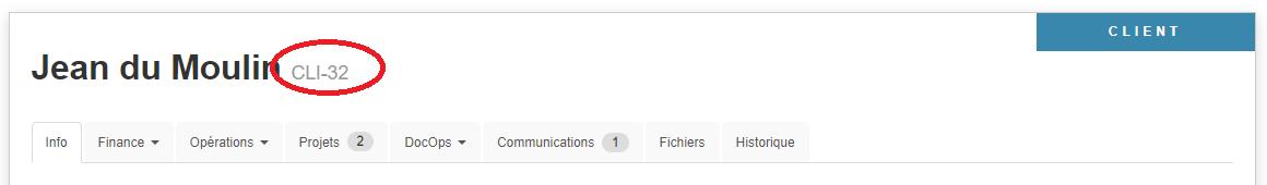 Smoall - Fiche client - numéro de client