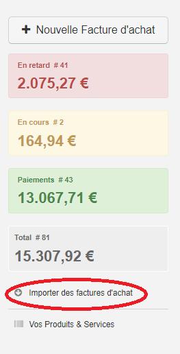 Smoall - Importer des factures d'achat