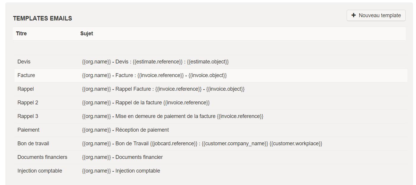 Smoall - Paramètres Template e-mail - liste