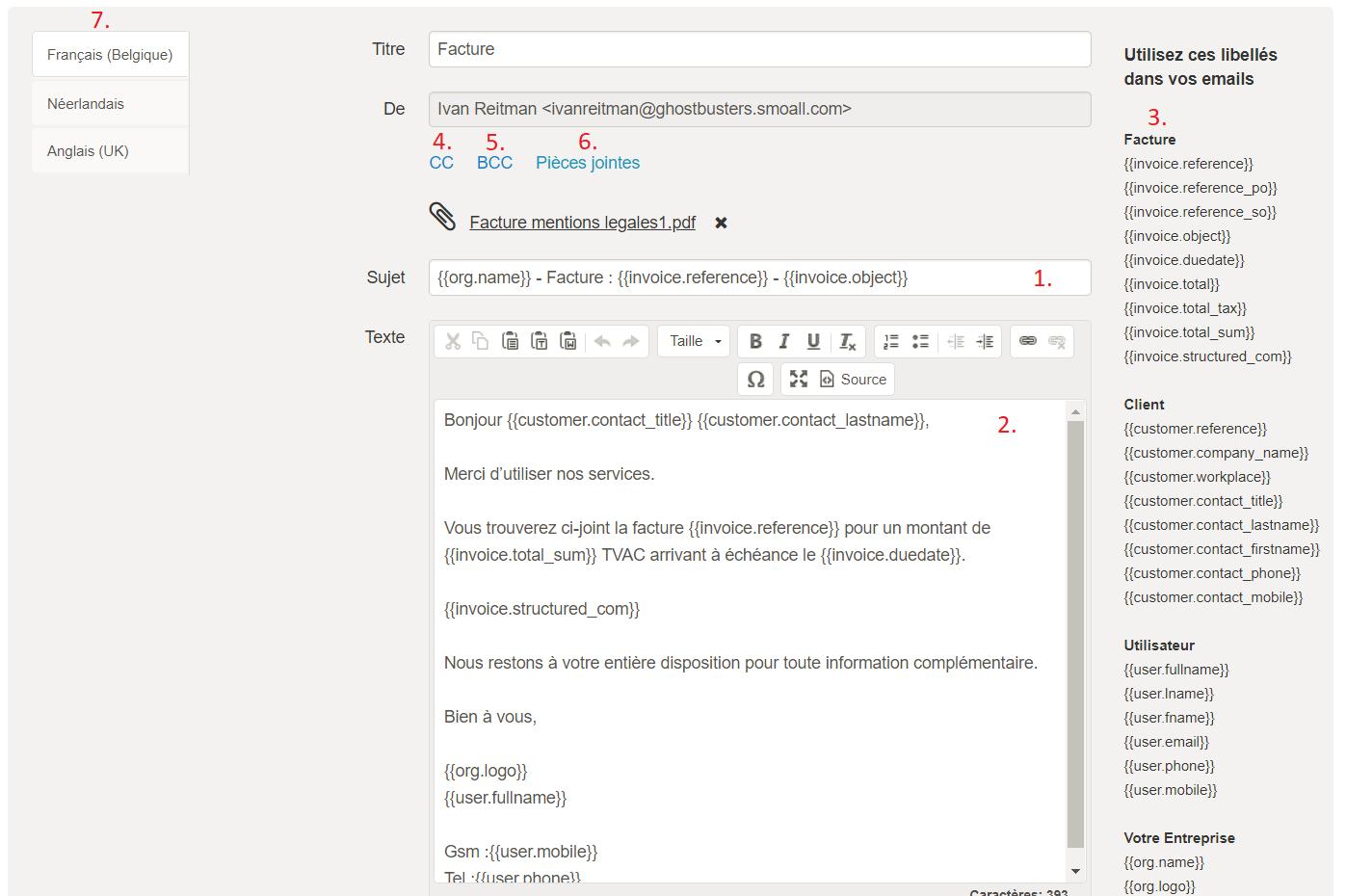Smoall - Paramètres e-mail - édition