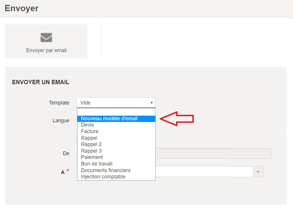 Paramètres e-mail - selection modèle custom