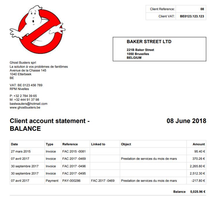 Smoall - Extrait de compte client