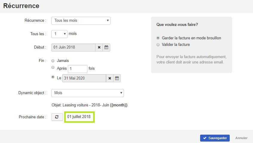 Smoall - Facture de vente - écran récurrence - date prochaine facture 2