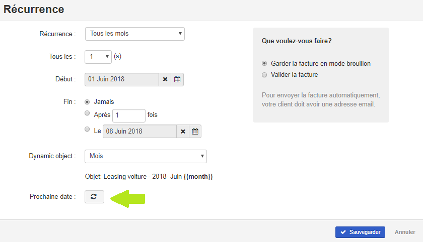 Smoall - Facture de vente - écran récurrence - date prochaine facture