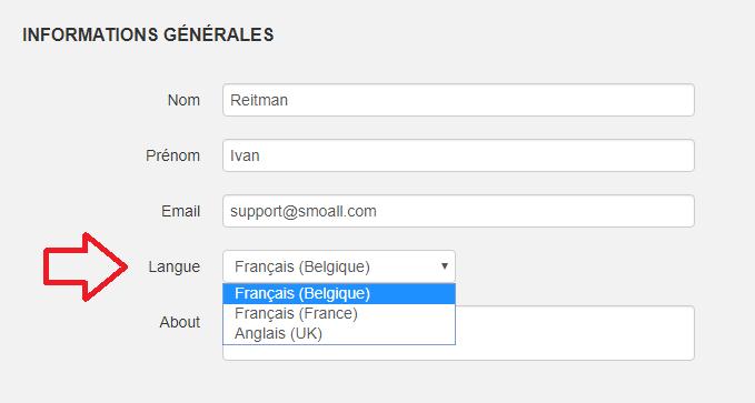 Smoall - Mon profil - choix de langue utilisateur