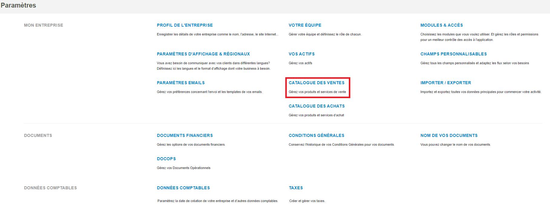 Smoall - paramètres-création catalogue des ventes