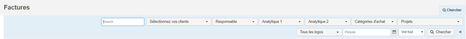 Smoall - critères de recherche factures vente