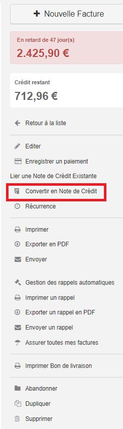 Smoall-Convertir facture en note de crédit