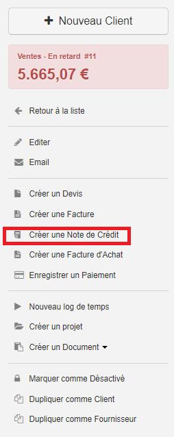 Smoall-Créer note de crédit depuis fiche client