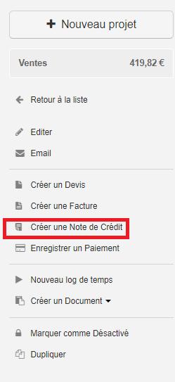 Smoall-Créer note de crédit depuis projet