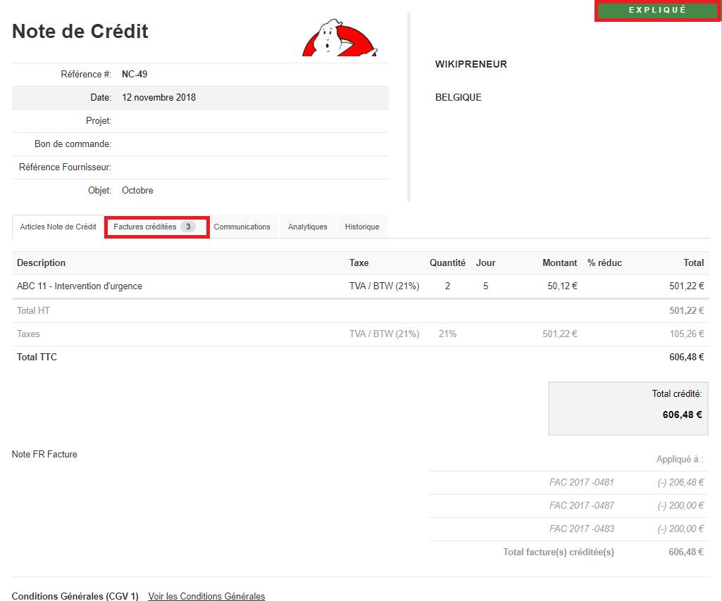 Smoall-Note de crédit statut et factures liées détails