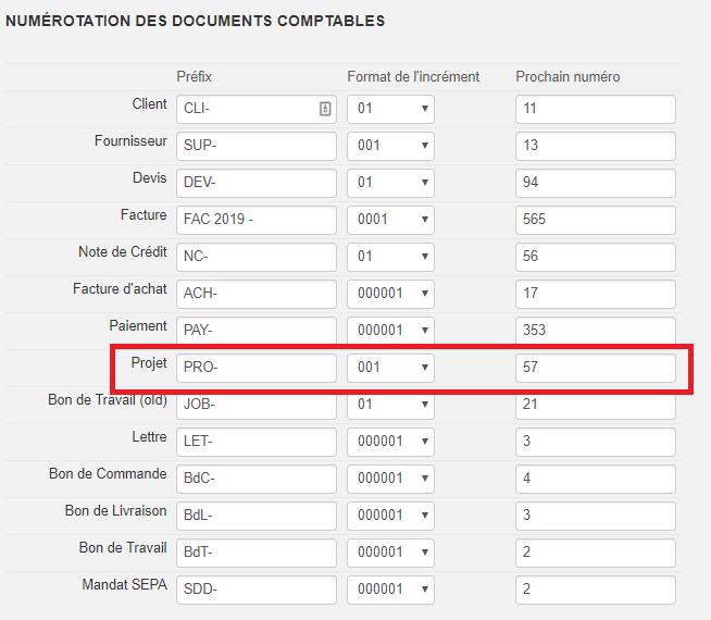 Smoall - Numérotation documents comptables - Projet