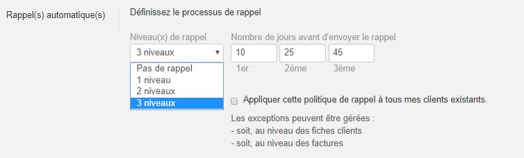 Smoall-Paramètres rappels automatiques