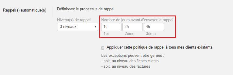 Smoall-Paramètres rappels automatiques nombre de jours par rappel
