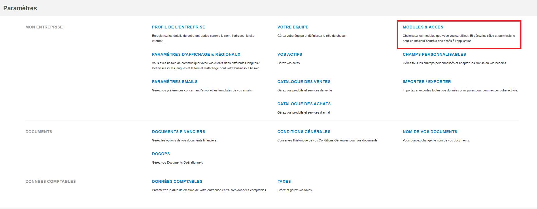 Smoall- Paramètres- Modules et accès