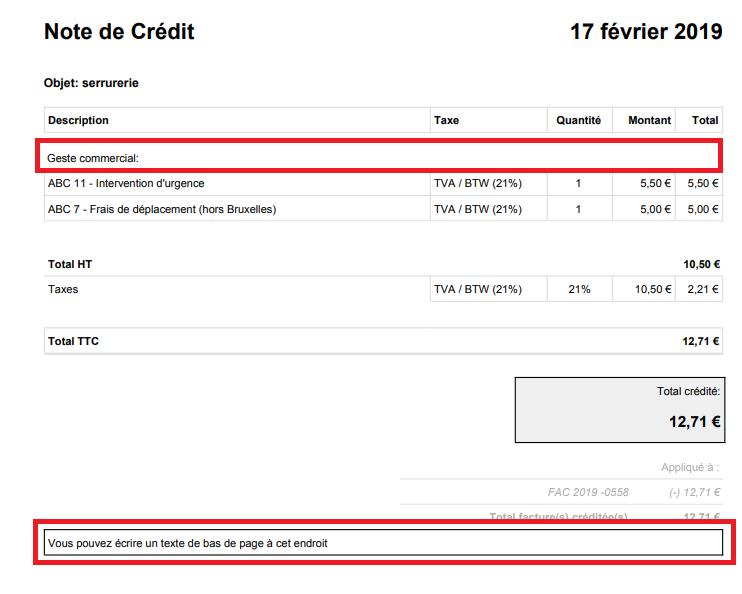 Smoall-Résultat texte dans pdf de la note de crédit