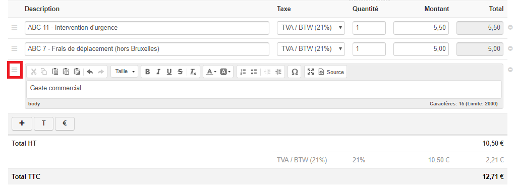 Smoall-icône déplacer texte dans la note de crédit