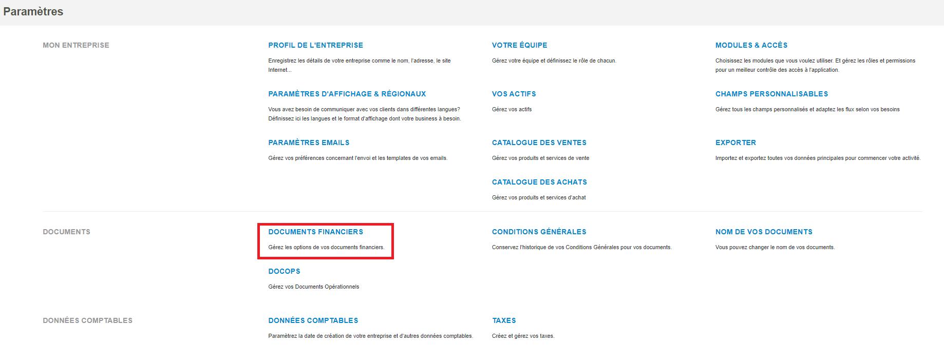 Smoall-Paramètres-Documents financiers