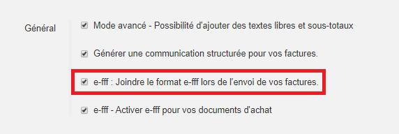 Smoall-Paramètres-Activation e-fff factures de vente
