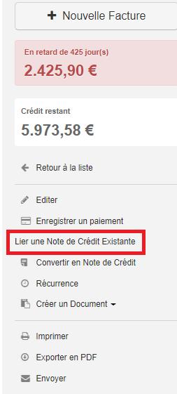Smoall- factures-lier une note de credit existante