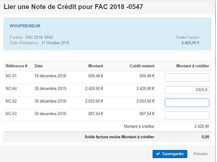 Smoall-Factures de vente-Liste notes de crédit à lier complété
