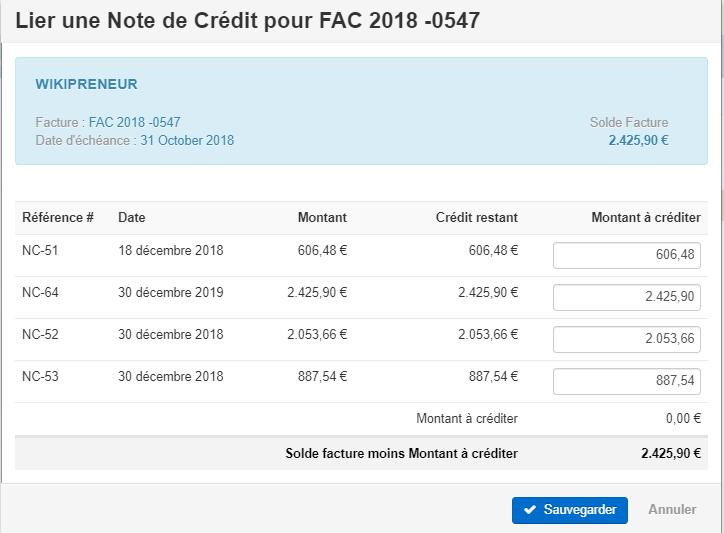 Smoall-Factures de vente-Liste notes de crédit à lier
