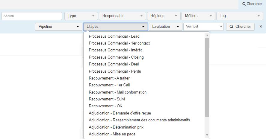 Smoall-Fourn-critères de recherche par étapes-étapes sélectionnées